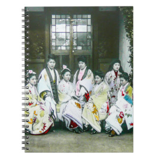 Geisha Posing by Brothel Vintage Glass Slide Notebooks