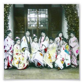 Geisha Posing by Brothel Vintage Glass Slide Photo Print