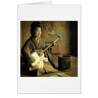 Geisha Practicing the Shamisen Vintage Old Japan Card