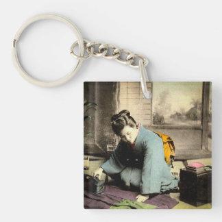 Geisha Preparing Silk Kimono Vintage Old Japan Key Ring