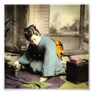 Geisha Preparing Silk Kimono Vintage Old Japan Photo Print
