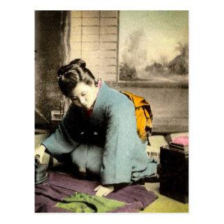 Geisha Preparing Silk Kimono Vintage Old Japan Postcard