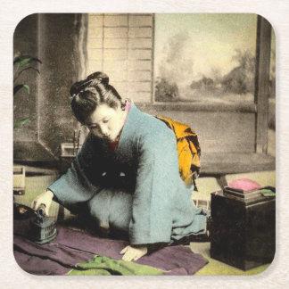 Geisha Preparing Silk Kimono Vintage Old Japan Square Paper Coaster