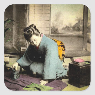 Geisha Preparing Silk Kimono Vintage Old Japan Square Sticker