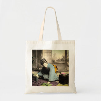 Geisha Preparing Silk Kimono Vintage Old Japan Tote Bag