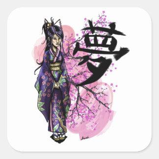 Geisha Square Sticker