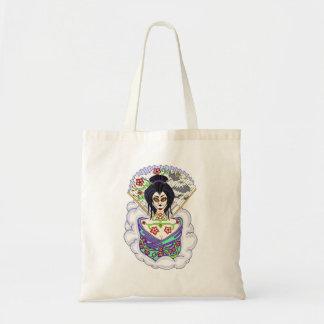 Geisha Sugar Skull Tote Bag