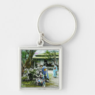 Geisha Visiting Iris Gardens in Old Japan Vintage Silver-Colored Square Key Ring