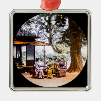 Geisha Visiting Outside an Tea House in Old Japan Silver-Colored Square Decoration