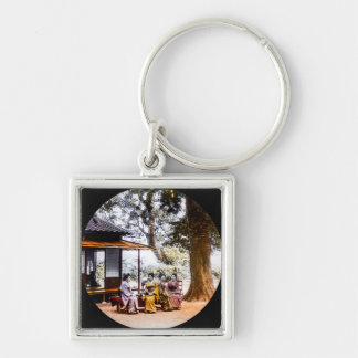 Geisha Visiting Outside an Tea House in Old Japan Silver-Colored Square Key Ring