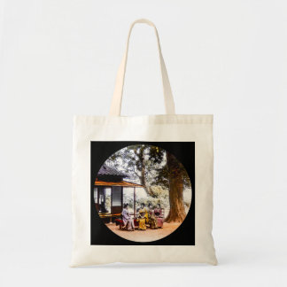 Geisha Visiting Outside an Tea House in Old Japan Tote Bag