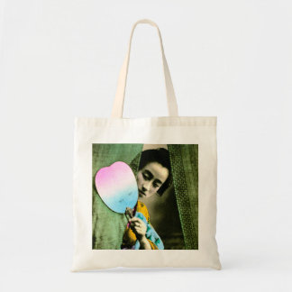 Geisha with a Paper Fan Vintage Old Japan Budget Tote Bag