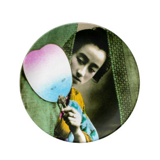 Geisha with a Paper Fan Vintage Old Japan Plate