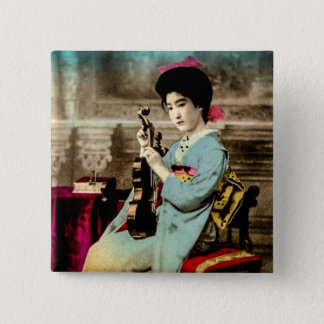 Geisha with a Violin Vintage Old Japan Musician 15 Cm Square Badge
