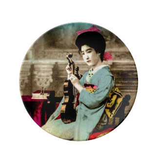 Geisha with a Violin Vintage Old Japan Musician Plate