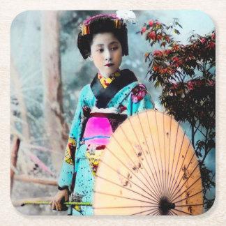 Geisha with a Wagasa Paper Parasol Vintage Japan Square Paper Coaster