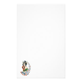 Geisha With Floral Cascade Stationery