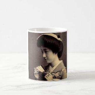 Geisha with Folding Paper Fan In Old Japan Coffee Mug