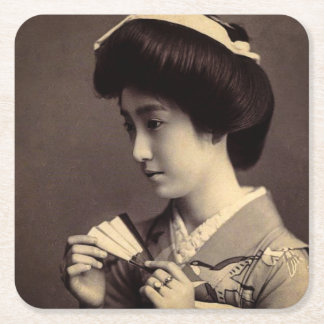 Geisha with Folding Paper Fan In Old Japan Square Paper Coaster
