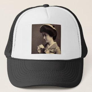 Geisha with Folding Paper Fan In Old Japan Trucker Hat