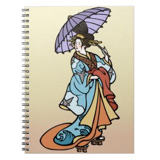 Geisha with Parasol Spiral Note Books