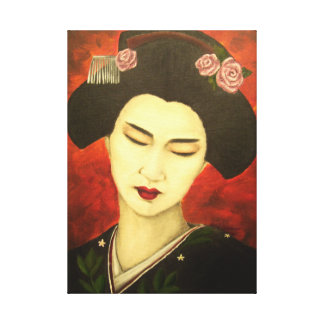 Geisha with Roses Stretched Canvas Prints