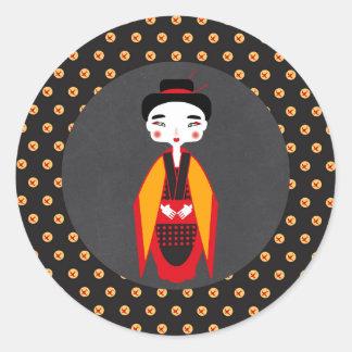 Geishas and sushi Birthday Party Classic Round Sticker