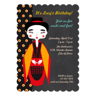 Geishas and sushi Birthday Party invitation