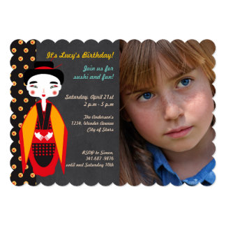 Geishas and sushi Birthday Party photo  invitation