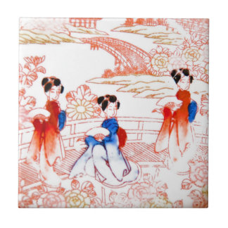 Geishas in garden ceramic tile