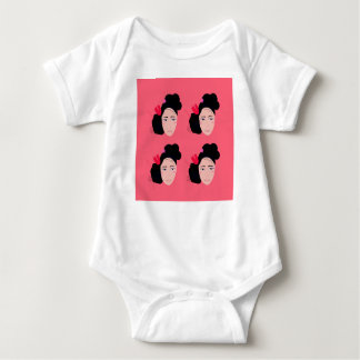 Geishas on pink design baby bodysuit