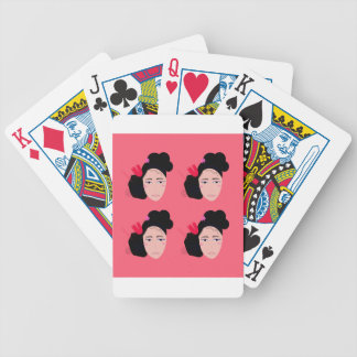 Geishas on pink design bicycle playing cards