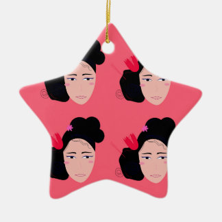 Geishas on pink design ceramic ornament