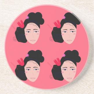 Geishas on pink design coaster