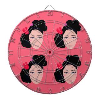Geishas on pink design dartboard