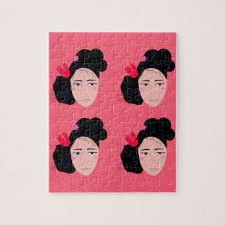 Geishas on pink design jigsaw puzzle