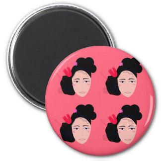 Geishas on pink design magnet