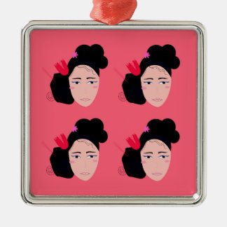 Geishas on pink design metal ornament