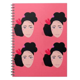 Geishas on pink design notebooks