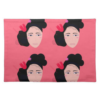 Geishas on pink design placemat