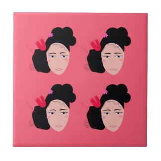 Geishas on pink design tile