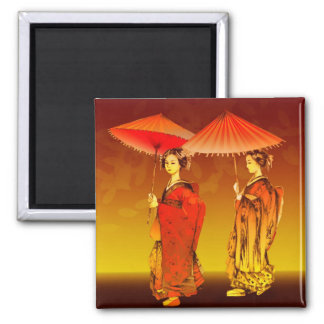 Geishas parasoles magnet