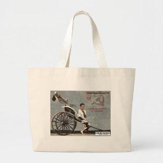 Geithner Driving a Rickshaw Large Tote Bag