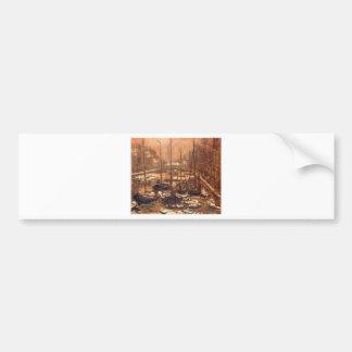 Geldersekade of Amsterdam Invierno by Claude Monet Bumper Sticker