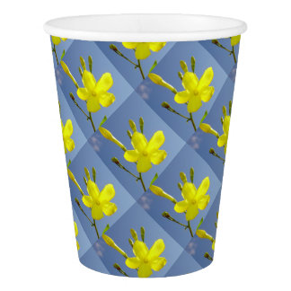 Gelsemium Sempervirens Isolated on Blue Sky Paper Cup