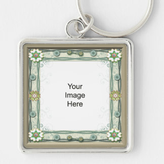 Gem and Bead Photo Temp,ate Silver-Colored Square Key Ring