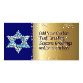 Gem decorated Star of David Customised Photo Card