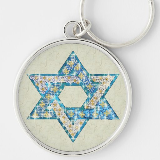 Gem decorated Star of David Key Chains