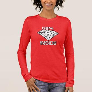 Gem Inside - Diamond White Black Borders Long Sleeve T-Shirt