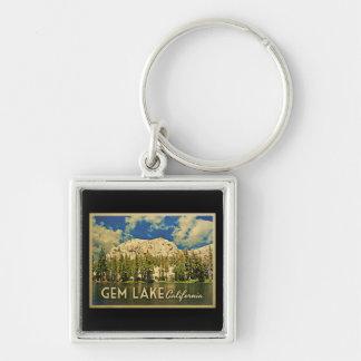 Gem Lake California Silver-Colored Square Key Ring